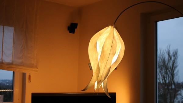 Stehleuchte aus Edelstahl mit Tulpe Elegant Lady (medium) und Textilkabel